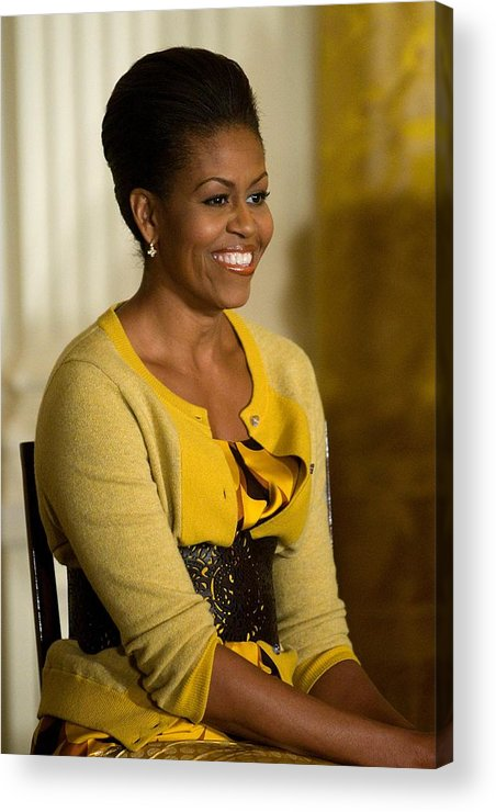 Michelle Obama Acrylic Print featuring the photograph Michelle Obama Wearing A J. Crew by Everett