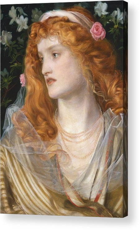 Pre-raphaelite; Victorian; Female; Veil; Auburn; Redhead; Red-haired; Heroine; The Tempest; Shakespeare; Literature Acrylic Print featuring the painting Miranda by AFA Sandys