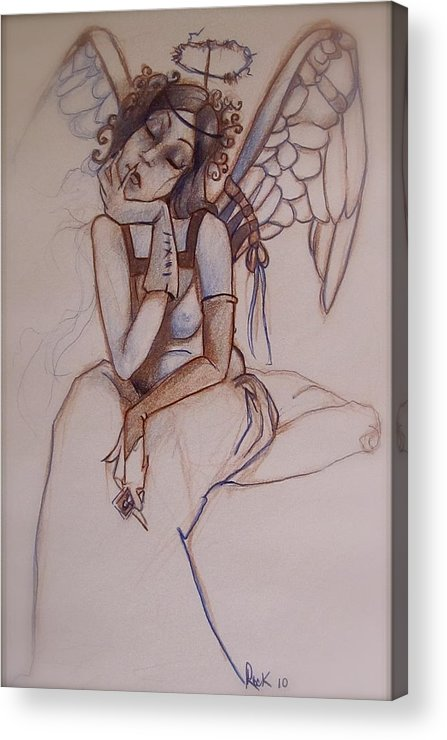 Angel Blues Acrylic Print featuring the drawing Missing Him by Jackie Rock