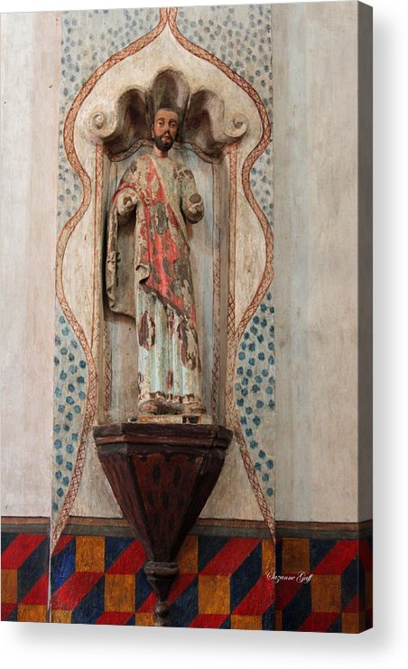 Mission San Xavier Del Bac Acrylic Print featuring the photograph Mission San Xavier Del Bac - Interior Sculpture by Suzanne Gaff