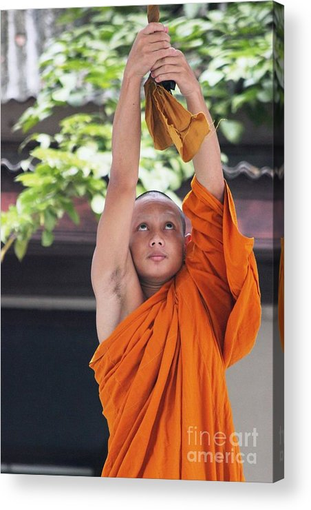Buddhism Acrylic Print featuring the photograph Monk In The Bell Tower #2 by Nola Lee Kelsey