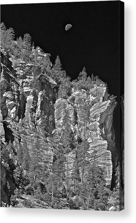 Cliffs Acrylic Print featuring the photograph Moonlit Cliffs by Phyllis Denton