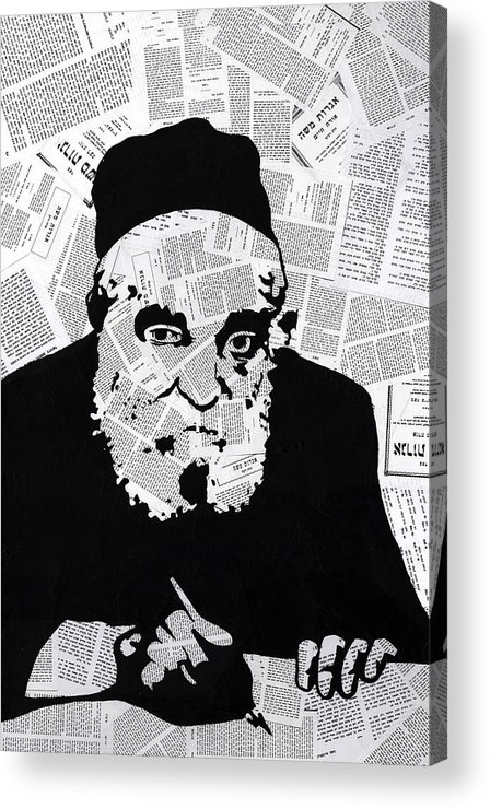 Moshe Acrylic Print featuring the painting Moshe Feinstein by Anshie Kagan