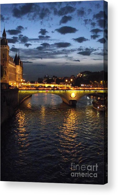 Paris Acrylic Print featuring the photograph Night Fall Over The Seine by Shawna Gibson