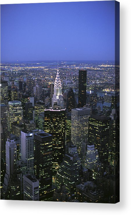 North America Acrylic Print featuring the photograph Night View Of The Manhattan Skyline by Todd Gipstein