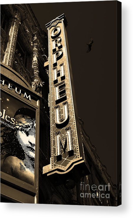 San Francisco Acrylic Print featuring the photograph Nightfall At The Orpheum - San Francisco California - 5d17991 - Sepia by Wingsdomain Art and Photography