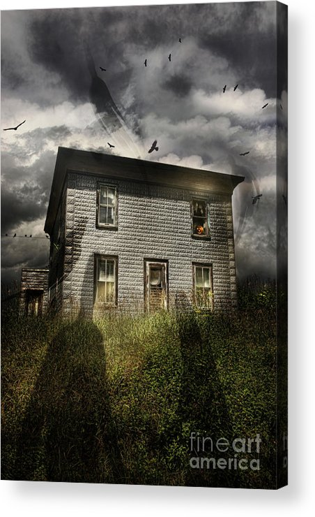 Aged Acrylic Print featuring the photograph Old Ababdoned House With Flying Ghosts by Sandra Cunningham