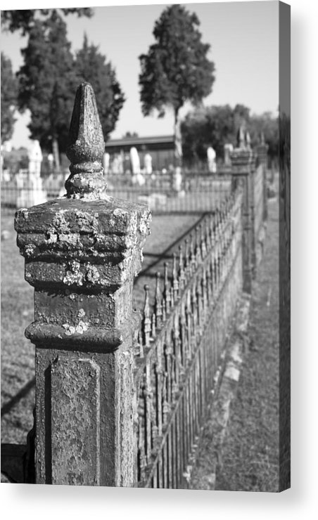 Graveyard Acrylic Print featuring the photograph Old Graveyard Fence In Black And White by Kathy Clark