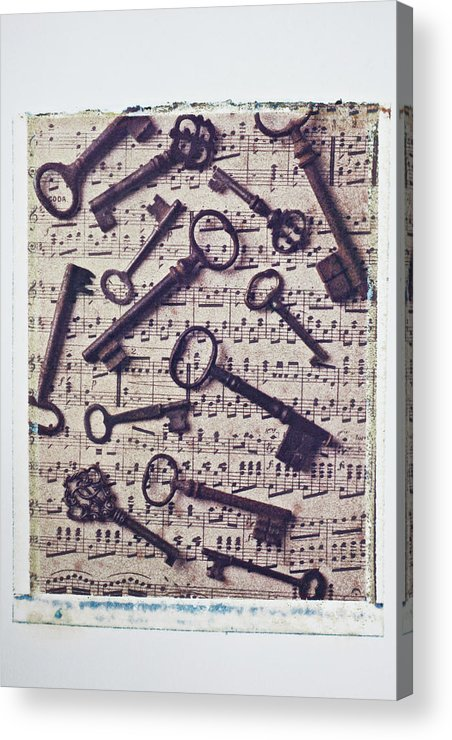 Key Acrylic Print featuring the photograph Old Keys On Sheet Music by Garry Gay