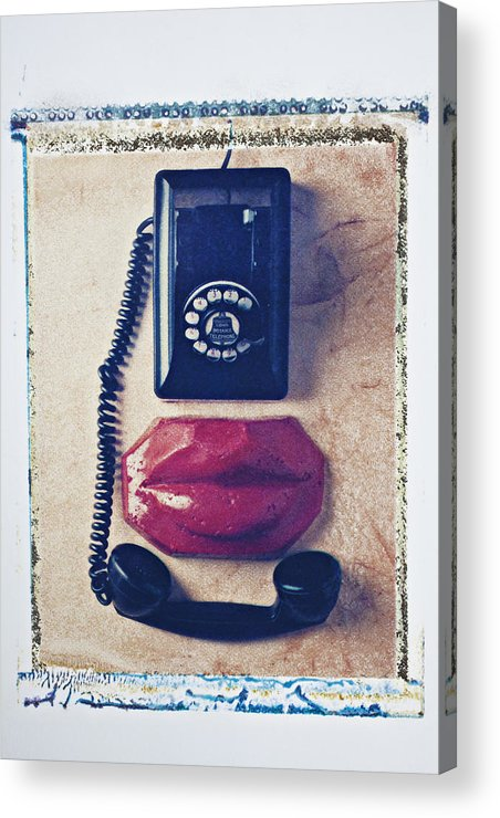 Old Acrylic Print featuring the photograph Old Telephone And Red Lips by Garry Gay