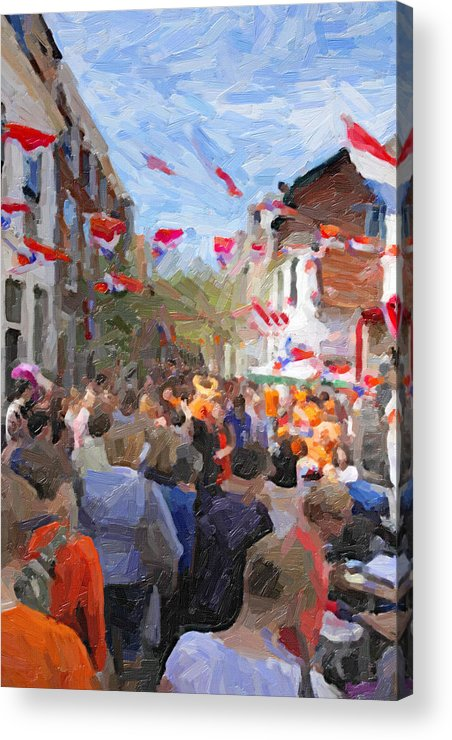 Stock Acrylic Print featuring the digital art Orange Day Party by Martin Fry