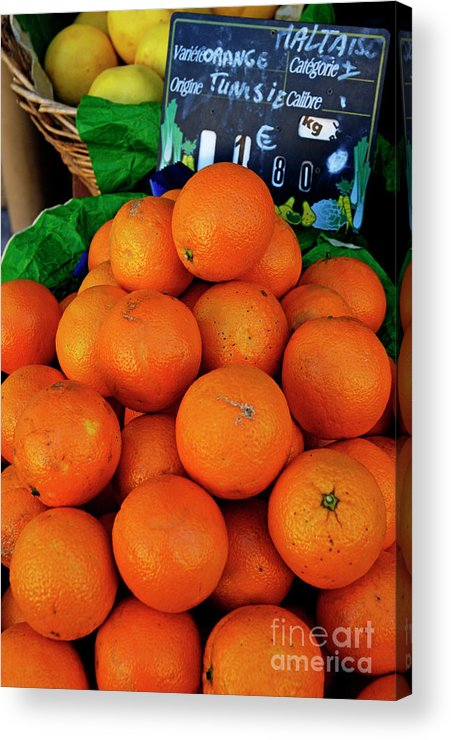 Agriculture & Food Acrylic Print featuring the photograph Oranges Displayed In A Grocery Shop by Sami Sarkis