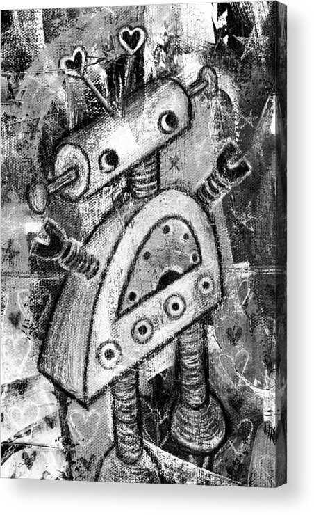 Robot Acrylic Print featuring the painting Painted Robot 2 Of 6 by Roseanne Jones