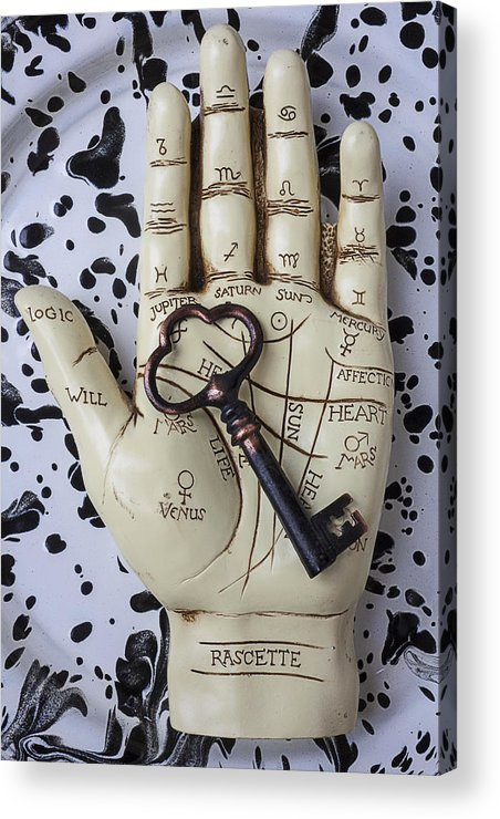Palm Reader Hand Acrylic Print featuring the photograph Palm Reading Hand And Key by Garry Gay