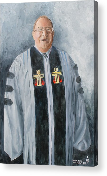Pastor Acrylic Print featuring the painting Pastor Mike by Larry Whitler