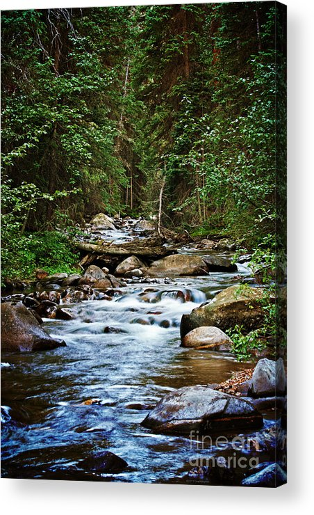 Mountain Stream Acrylic Print featuring the photograph Peaceful Mountain River by Lisa Porier