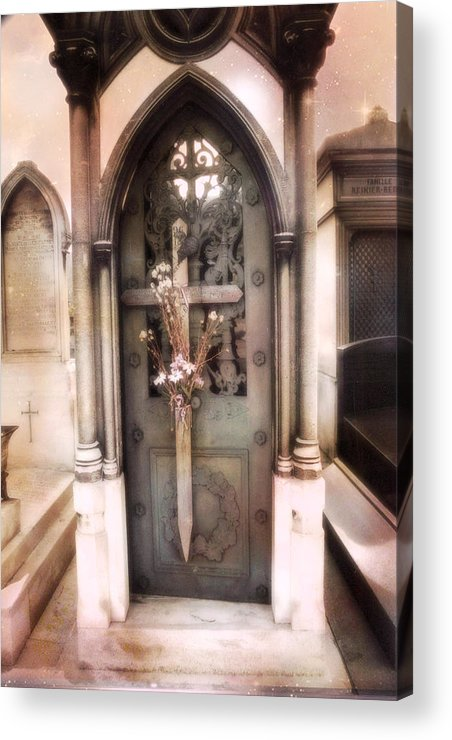 Paris Dreamy Fine Art Acrylic Print featuring the photograph Pere La Chaise Cemetery Ornate Mausoleum by Kathy Fornal