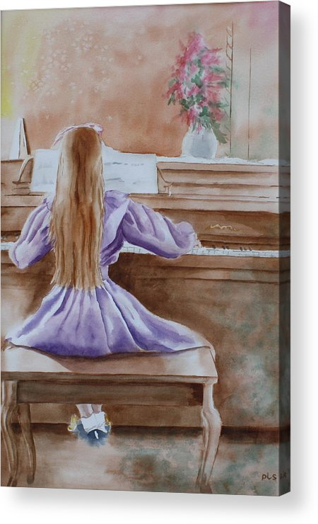 Child Acrylic Print featuring the painting Practice Makes Perfect by Patsy Sharpe