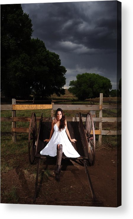 Ranch Acrylic Print featuring the photograph Ranch Woman On Wagon by Dale Davis