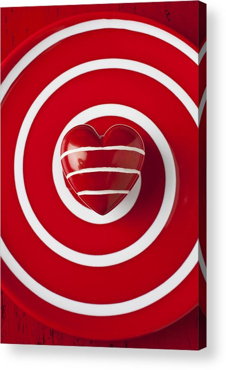 Red Acrylic Print featuring the photograph Red Heart Soft Stone by Garry Gay