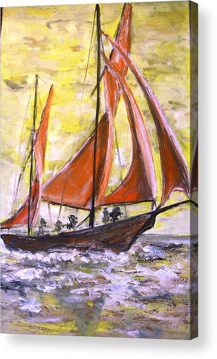 Acrylic Print featuring the painting Red Sailing Boat by Baruch Neria-Kandel