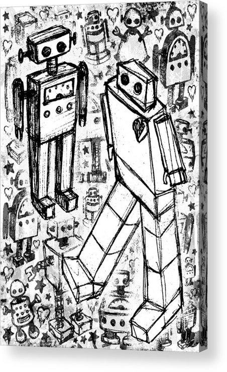 Robot Acrylic Print featuring the digital art Robot Sketch 6 Of 6 by Roseanne Jones