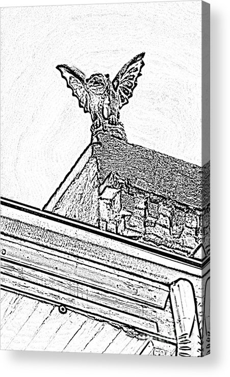 New Orleans Acrylic Print featuring the digital art Rooftop Gargoyle Statue Above French Quarter New Orleans Black And White Photocopy Digital Art by Shawn O'Brien