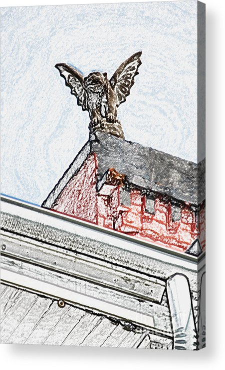 New Orleans Acrylic Print featuring the digital art Rooftop Gargoyle Statue Above French Quarter New Orleans Colored Pencil Digital Art by Shawn O'Brien