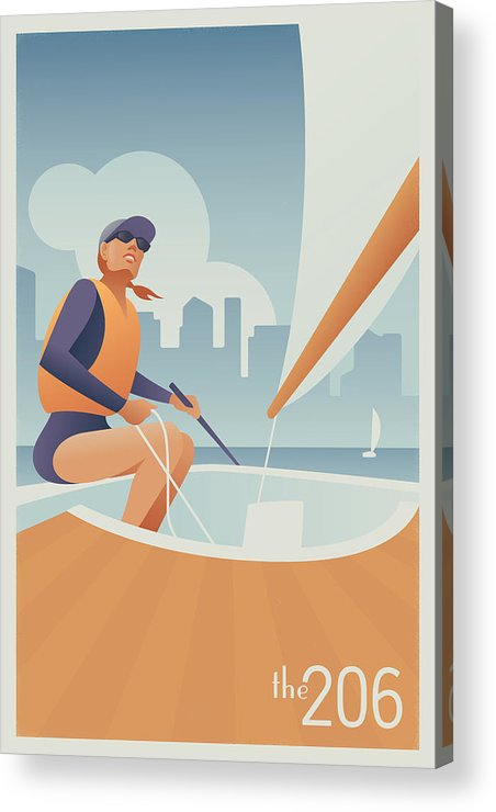 Sailing Acrylic Print featuring the digital art Sailing Lake Union In Seattle by Mitch Frey