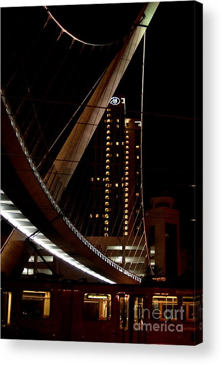California Acrylic Print featuring the digital art San Diego Lights At Night by Carol Ailles