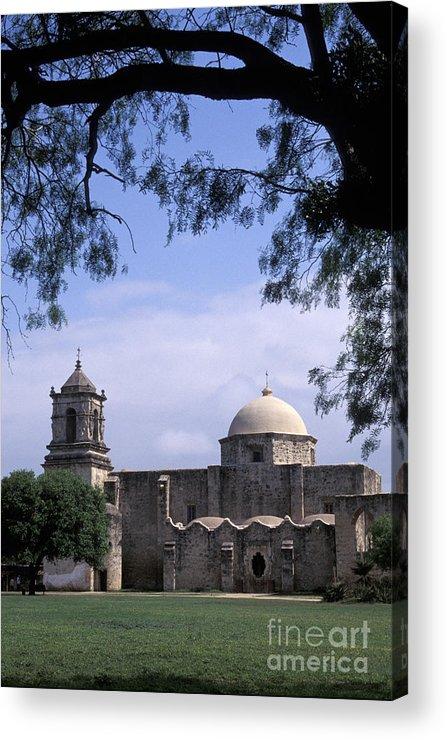 Texas Acrylic Print featuring the photograph San Jose Mission San Antonio Texas by John Mitchell