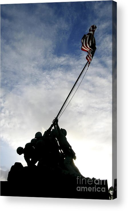 Military Acrylic Print featuring the photograph Silhouette Of The Iwo Jima  Statue by Michael Wood