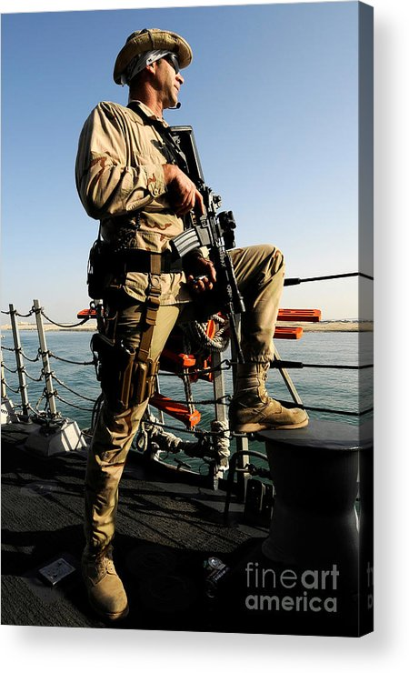 Operation Enduring Freedom Acrylic Print featuring the photograph Soldier Stands Watch Aboard Uss Momsen by Stocktrek Images