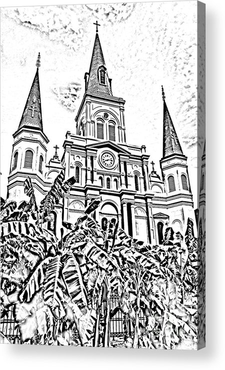 Travelpixpro New Orleans Acrylic Print featuring the digital art St Louis Cathedral Rising Above Palms Jackson Square New Orleans Photocopy Digital Art by Shawn O'Brien