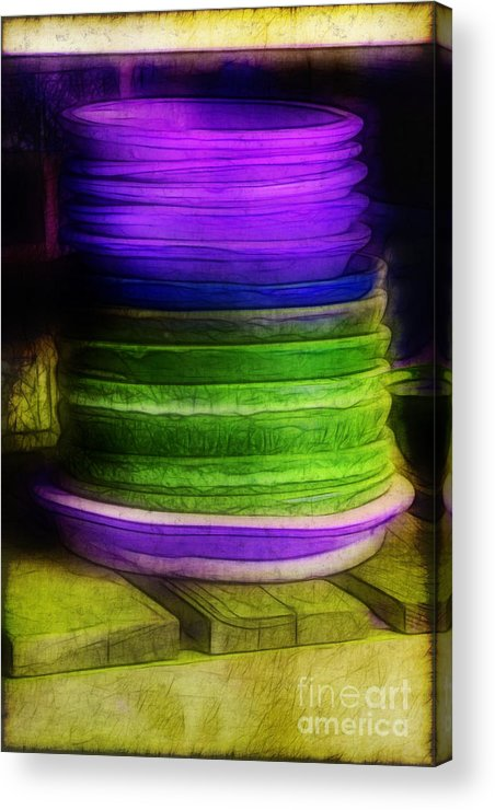 Purple Acrylic Print featuring the photograph Stack Of Saucers by Judi Bagwell