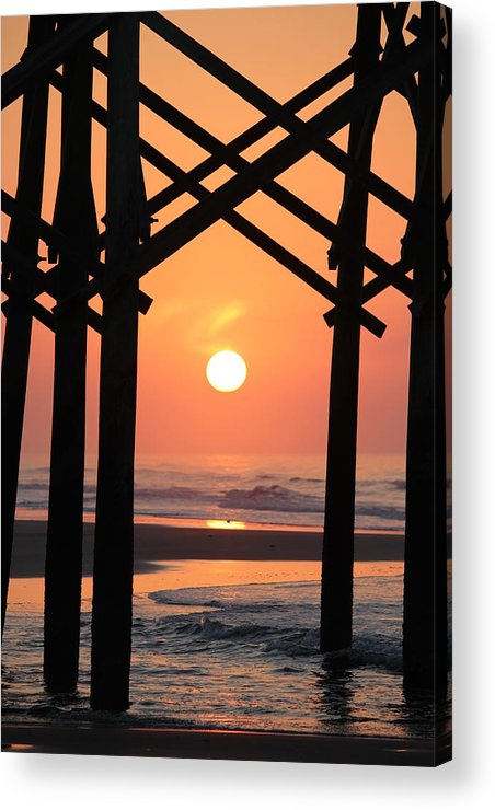 Pier Acrylic Print featuring the photograph Sunrise At Folly Pier by David White
