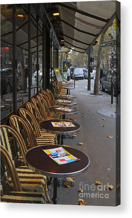 Tables Acrylic Print featuring the photograph Tables Outside A Paris Bistro On An Autumn Day by Louise Heusinkveld
