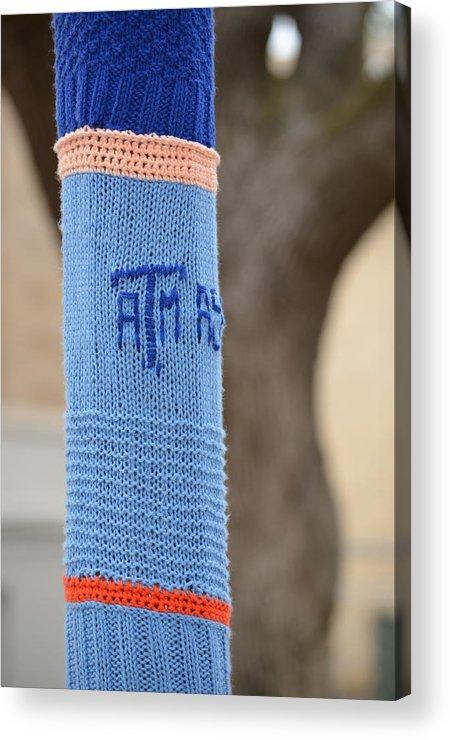Tamu Acrylic Print featuring the photograph Tamu Astronomy Crocheted Lamppost by Nikki Marie Smith