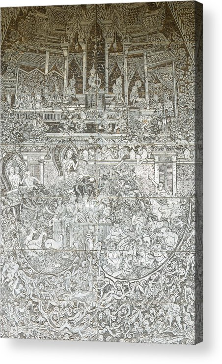 Abstract Acrylic Print featuring the painting Thai Writing Patterns by Kanoksak Detboon