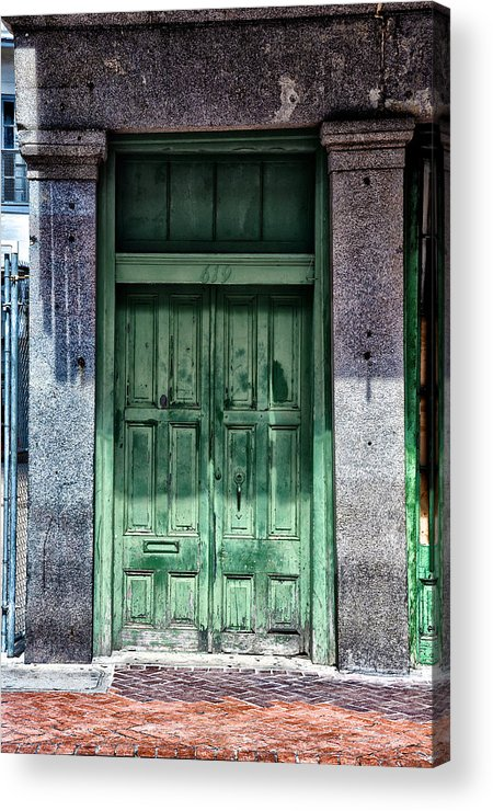 The Green Door In The French Quarter Acrylic Print featuring the photograph The Green Door In The French Quarter by Bill Cannon