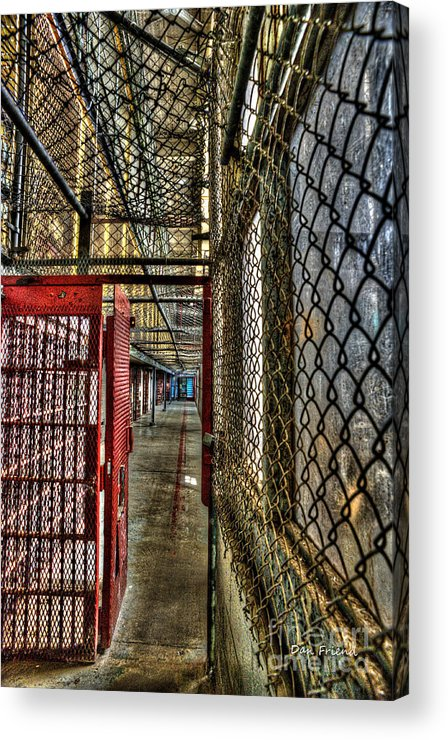 West Virginia State Penitentiary Acrylic Print featuring the photograph The West Virginia State Penitentiary Cell Hallway by Dan Friend