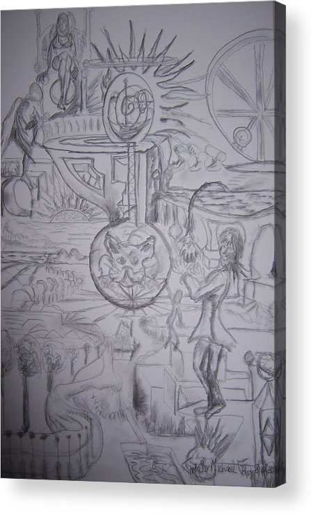 Surrealism Acrylic Print featuring the drawing The Wonders Of Wonderland by Timothy Foley