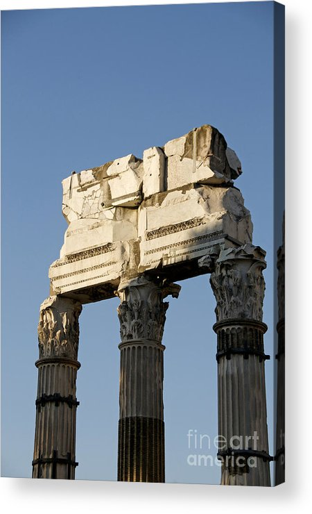 Three Columns And Architrave Temple Of Castor And Pollux Forum Romanum Rome  Italy  Acrylic Print