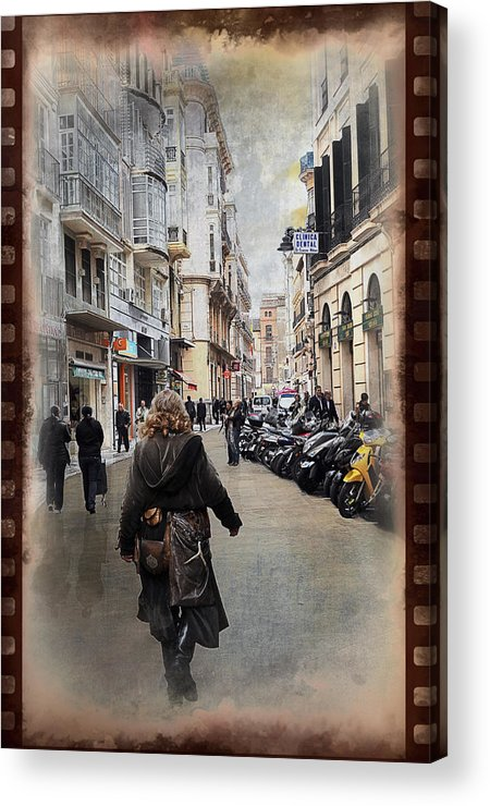 Time Acrylic Print featuring the photograph Time Warp In Malaga by Mary Machare