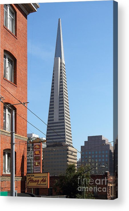 San Francisco Acrylic Print featuring the photograph Transamerica Pyramid Tower In San Francisco . 7d7376 by Wingsdomain Art and Photography