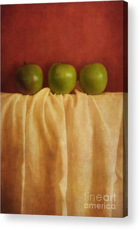 Priska Wettstein Acrylic Print featuring the photograph Trois Pommes by Priska Wettstein