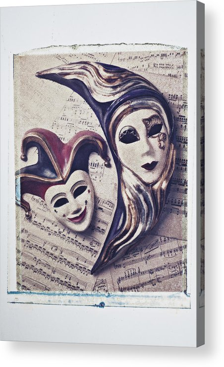 Two Acrylic Print featuring the photograph Two Masks On Sheet Music by Garry Gay