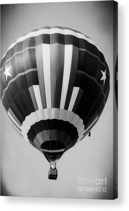 Black And White Hot Air Balloon Acrylic Print featuring the mixed media Two Star Balloon by Kim Henderson