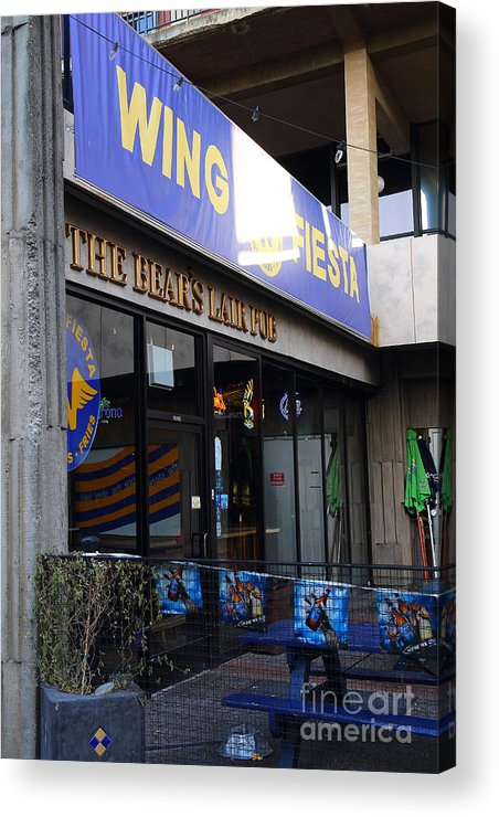 The Bears Lair Pub Acrylic Print featuring the photograph Uc Berkeley . Bears Lair Pub . 7d10163 by Wingsdomain Art and Photography