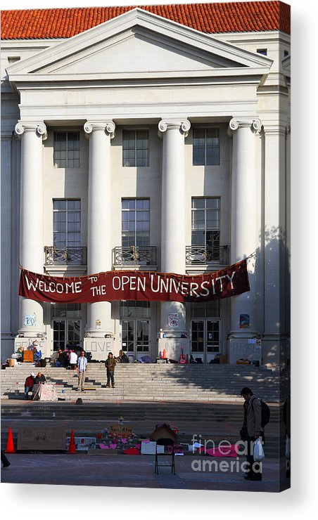 Sproul Acrylic Print featuring the photograph Uc Berkeley . Sproul Hall . Sproul Plaza . Occupy Uc Berkeley . 7d9992 by Wingsdomain Art and Photography